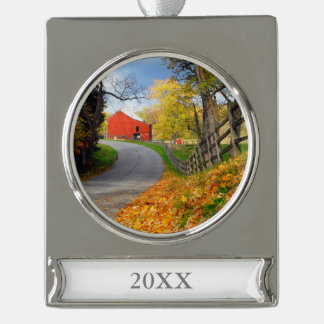 Barn in Fall Silver Plated Banner Ornament