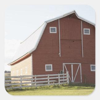 Barn in rural landscape square sticker