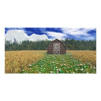 Barn in Wheat Field Photo Card