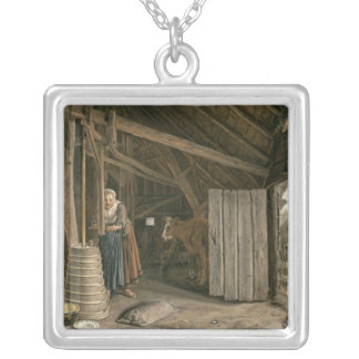 Barn Interior with a Maid Churning Butter Square Pendant Necklace
