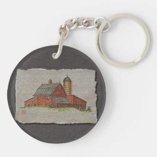 Barn  & Livestock Chute Double-Sided Round Acrylic Key Ring