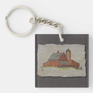 Barn  & Livestock Chute Single-Sided Square Acrylic Key Ring