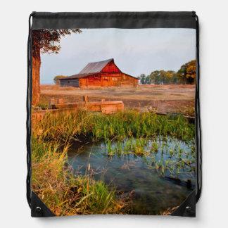 Barn On Mormon Row In Teton National Park Drawstring Bag