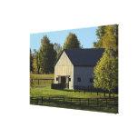 Barn on thoroughbred horse farm at sunrise, canvas prints