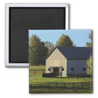 Barn on thoroughbred horse farm at sunrise, square magnet