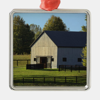 Barn on thoroughbred horse farm at sunrise, Silver-Colored square decoration