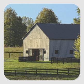 Barn on thoroughbred horse farm at sunrise, square sticker