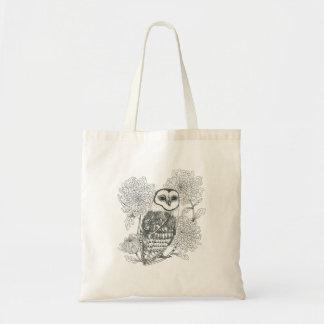 barn owl and chrysanthemums vintage ink tote