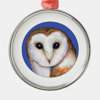 Barn Owl Bird Painting Silver-Colored Round Decoration