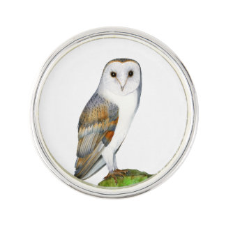 Barn Owl Bird Watercolor Artwork Wildlife Painting Lapel Pin