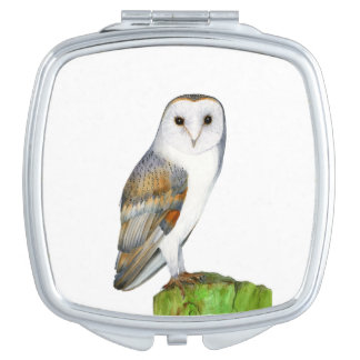 Barn Owl Bird Watercolor Painting Wildlife Artwork Mirrors For Makeup