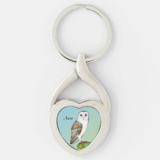 Barn Owl Bird Watercolor Painting Wildlife Artwork Silver-Colored Twisted Heart Key Ring