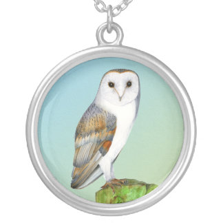 Barn Owl Bird Watercolor Painting Wildlife Artwork Silver Plated Necklace