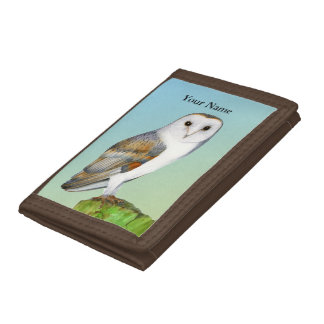 Barn Owl Bird Watercolor Painting Wildlife Artwork Trifold Wallets