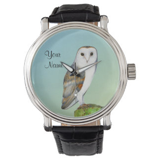 Barn Owl Bird Watercolor Painting Wildlife Artwork Watch