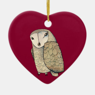 Barn Owl Ceramic Heart Decoration
