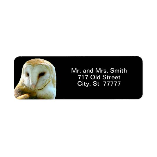 Barn Owl Close Profile Return Address Label