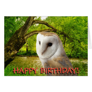 Barn owl customizable birthday card