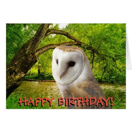 Barn owl customizable birthday card