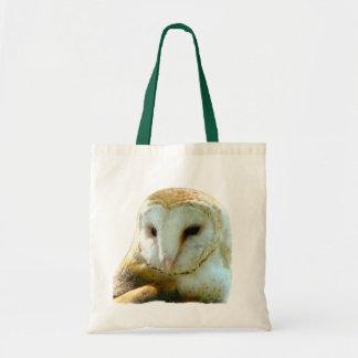 Barn Owl Face Portrait Budget Tote Bag
