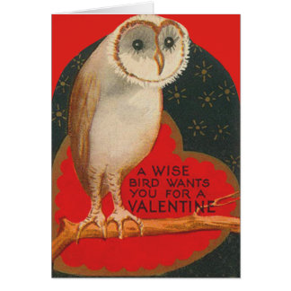 Barn Owl Heart Tree Stars Valentine Card