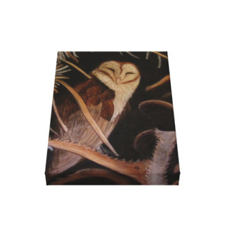 barn owl in pastel animal painting canvas print