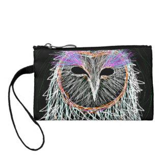 barn owl line art coin wallet