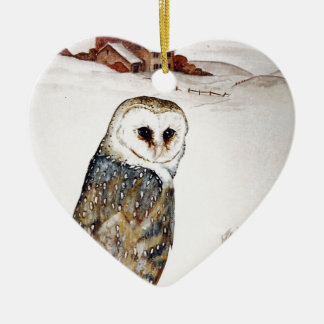 Barn Owl on the hunt Ceramic Heart Decoration
