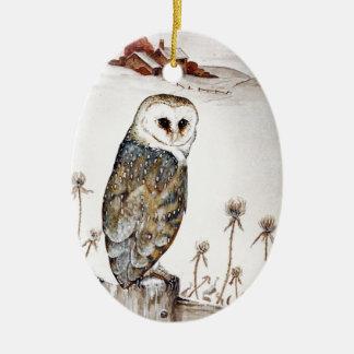 Barn Owl on the hunt Ceramic Oval Decoration