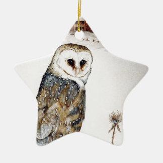 Barn Owl on the hunt Christmas Ornament