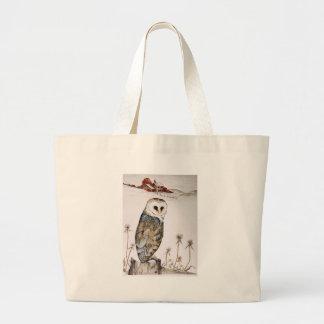 Barn Owl on the hunt Large Tote Bag