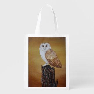 Barn Owl Reusable Shopping Bag Grocery Bags