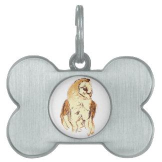 Barn Owl Sketch Pet Tag
