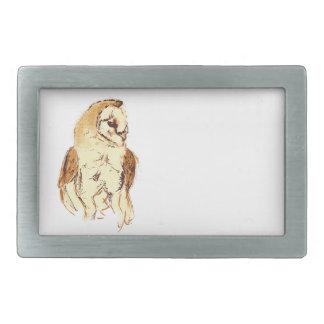 Barn Owl Sketch Rectangular Belt Buckle