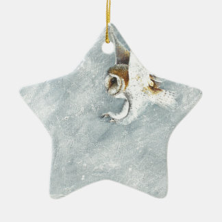 Barn Owl swooping with claws out Christmas Ornament
