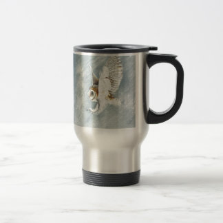 Barn Owl swooping with claws out Travel Mug