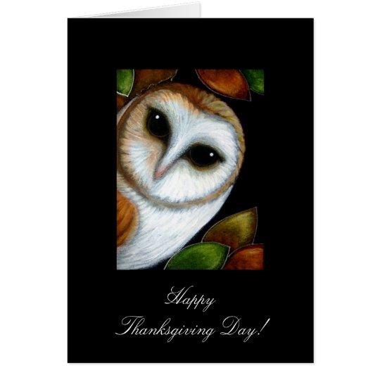 BARN OWL THANKSGIVING Card