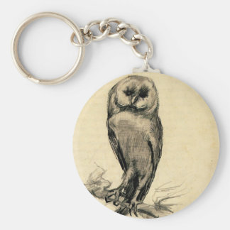 Barn Owl Viewed from the Front by Vincent van Gogh Basic Round Button Key Ring