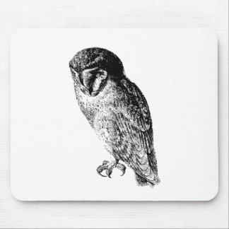 Barn Owl Vintage Wood Engraving Mouse Mat