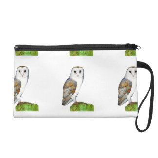 Barn Owl Watercolor Artwork Jewellery and Bags Wristlet