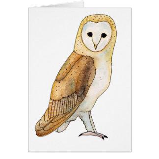 Barn Owl watercolour Card