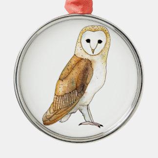 Barn Owl watercolour Christmas Ornament