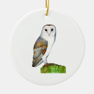 Barn Owl Watercolour Painting Christmas Ornament
