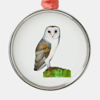 Barn Owl Watercolour Painting Silver-Colored Round Decoration