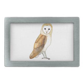 Barn Owl watercolour Rectangular Belt Buckle