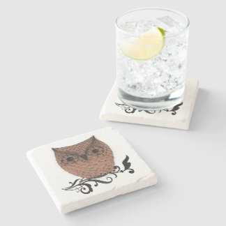 Barn Owl Whimsical Country Stone Coaster
