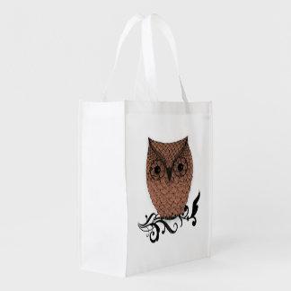 Barn Owl Whimsical Country Grocery Bag