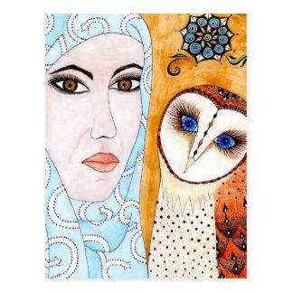 Barn owl & woman postcard