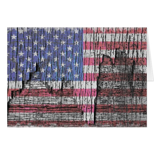 Barn Peeling Painted Patriotic American Flag Card