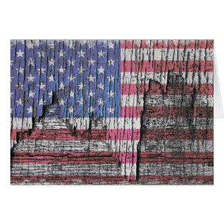 Barn Peeling Painted Patriotic American Flag Greeting Card
